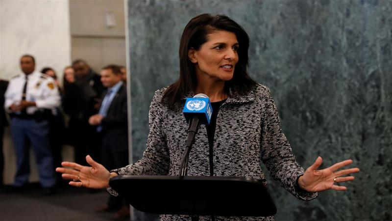 "Haley said the US will ""show strength"" at the UN [Mike Segar/Reuters]"