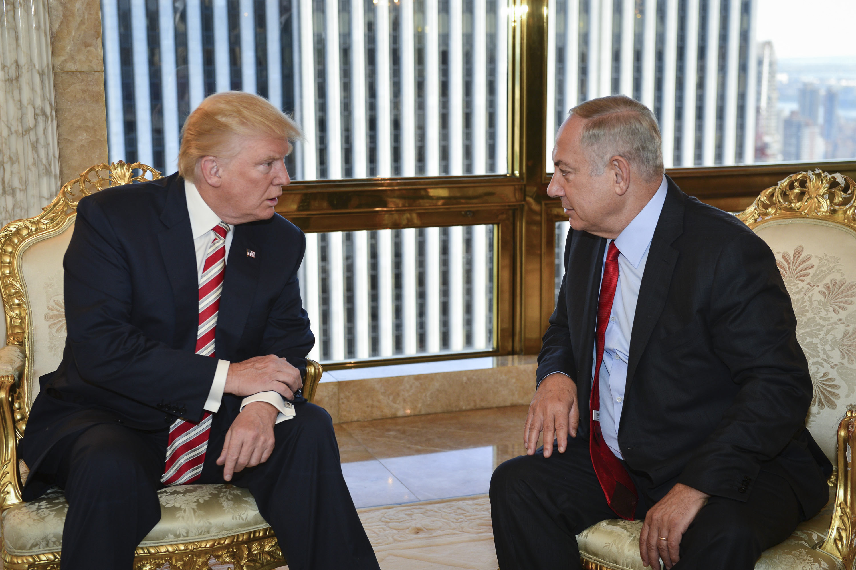 Prime Minister Benjamin Netanyahu met with Trump when he was the Republican Presidential candidate, in New York, on September 25, 2016. Photo by Kobi Gideon/GPO