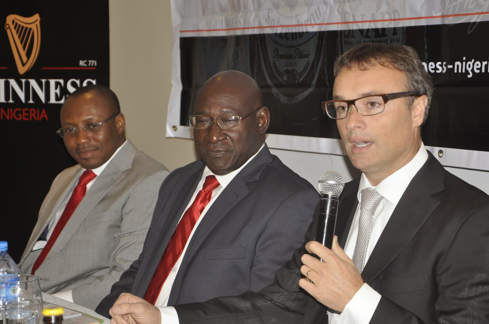 L-R: Mr. Seni Adetu, Outgoing MD/CEO Guinness Nigeria Plc; Mr. Babatunde Savage, Chairman, Guinness Nigeria Plc; and Mr. John O'Keeffe, incoming MD/CEO