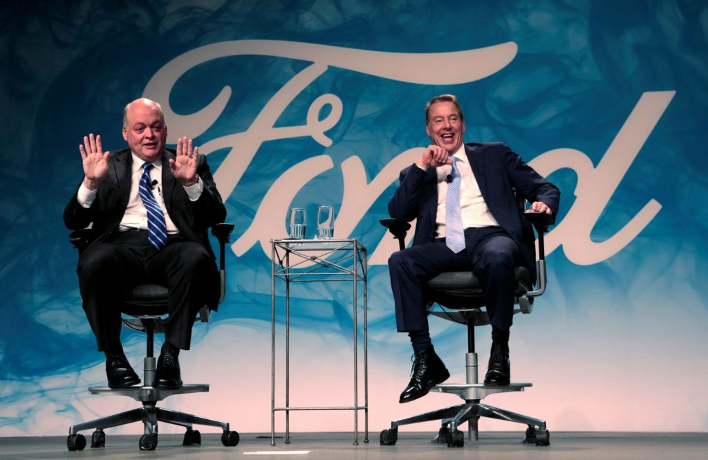Ford Motor Executive Chairman Bill Ford and James Hackett answer questions from the media after announcing Hackett was named Ford Motor Company president.