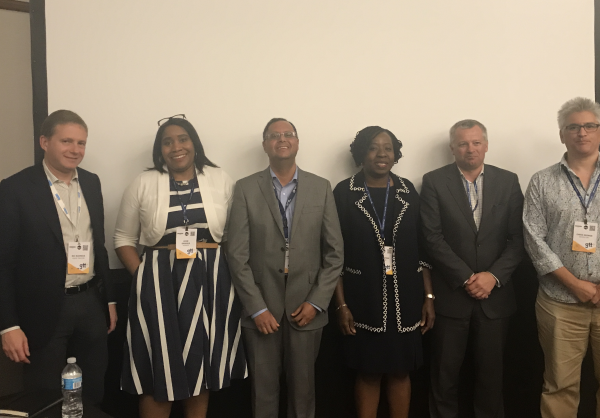 """L-R: Nic Rudnick, CEO, Liquid Telecoms; Uche Ofodile, Regional Head, Africa Express Wi-Fi, Facebook; Artur Mendes, CCO, Angola Cables; Funke Opeke, CEO, MainOne; Chris Wood, CEO, WIOCC and Chris George, Strategic Initiatives, Google, after the MainOne-hosted Africa Session themed """"Achieving A Connected Continent: Leading The Data Explosion Across Africa"""" at the 2017 International Telecoms Week, held in Chicago... this week."""