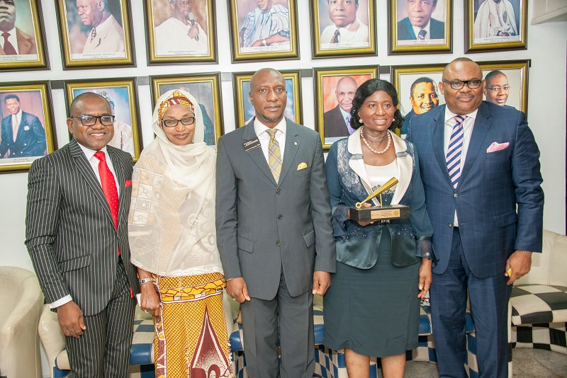 L-R: Mr. Peter Ashade, Managing Director/CEO,  Africa Prudential Plc; Ammuna Lawan Ali, Non-Executive Director (Independent), Africa Prudential Plc; Mr. Oscar Onyema, CEO, Nigerian Stock Exchange; Chief (Mrs.) Eniola Fadayomi, Chairman; and Mr. Peter Elumelu, Non-Executive Director, Africa Prudential Plc at the Closing Gong Ceremony held at the Exchange in Lagos, recently.