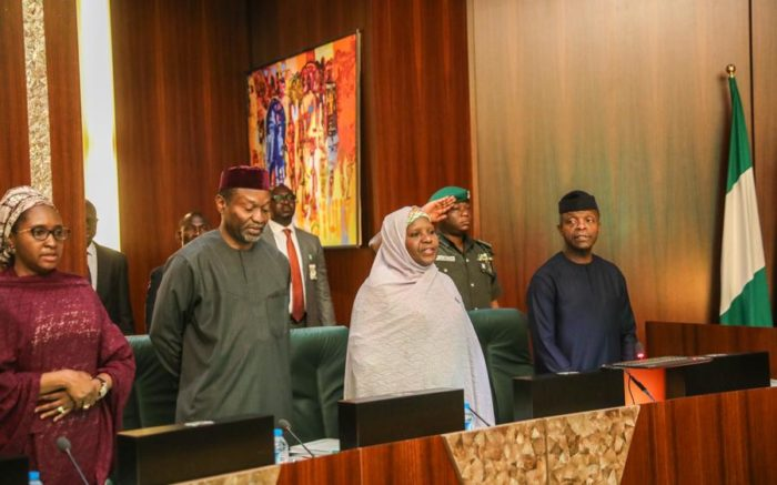 VP Osinbajo, extreme right, Senator Udoma Udo Udoma, third right, at the National Economic Council Meeting in Abuja on Thursday: Udoma showcases cashew nut, sesame seed and soya beans in his presentation