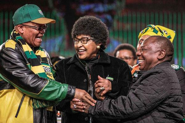 Winnie Mandela (middle) with ANC leaders