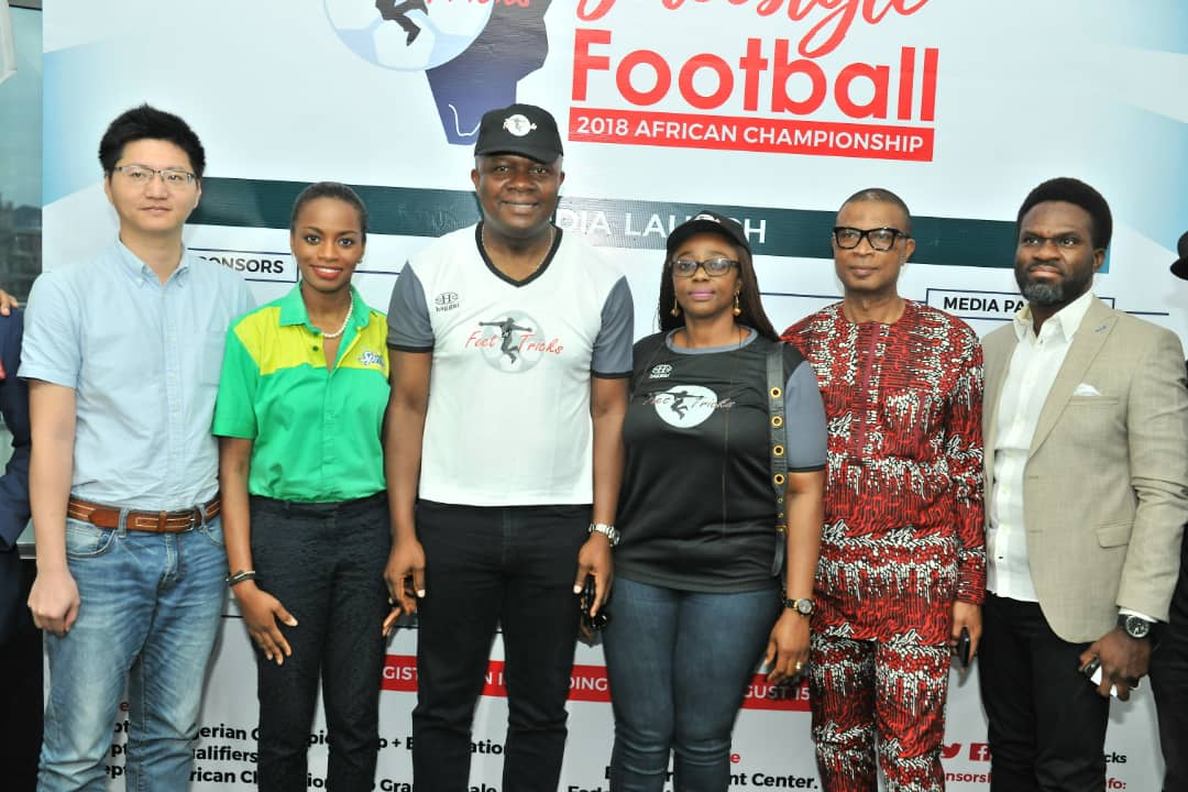 L-R: Mr Scofield Wu, Manager, GAC Motors Africa; Jumoke Oyewole-Lawuyi, Brand Manager, Sprite; Valentine Ozigbo; Chairman, Feet 'n' Tricks International; Mary-Callista Ozigbo; Iheanyi Nzekwe; Distributors of Scavi & Ray; Mr Fela Ibidapo, Divisional Head, Communications, Heritage Bank, during the Press Conference to announce the commencement the call for entries for Freestyle Football 2018 African Championship in Lagos on Friday