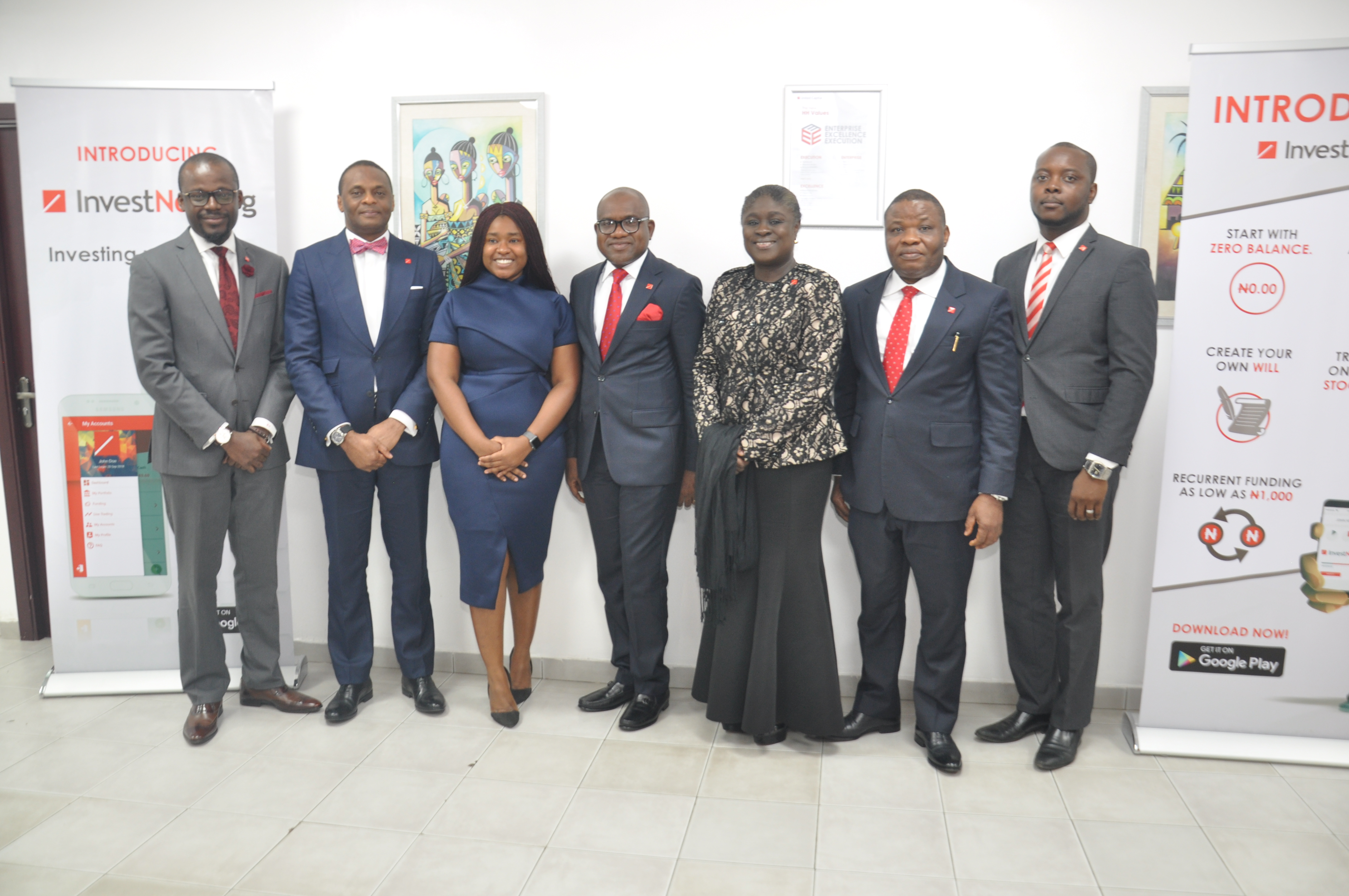 l-r: Babatunde Obaniyi – MD , United Capital Investment Banking ; Jude Chiemeka – MD/CEO ,  United Capital Securities Limited;  Omojola Odusanya – Marketing and Corporate Communications Executive; Peter Ashade – Group CEO , United Capital Plc ; Tokunbo Ajayi  - MD/CEO United Capital Trustees Limited; Sunny Anene – MD/CEO, United Capital Asset Management ;  and Joseph Onyema – Group Chief Information Officer,