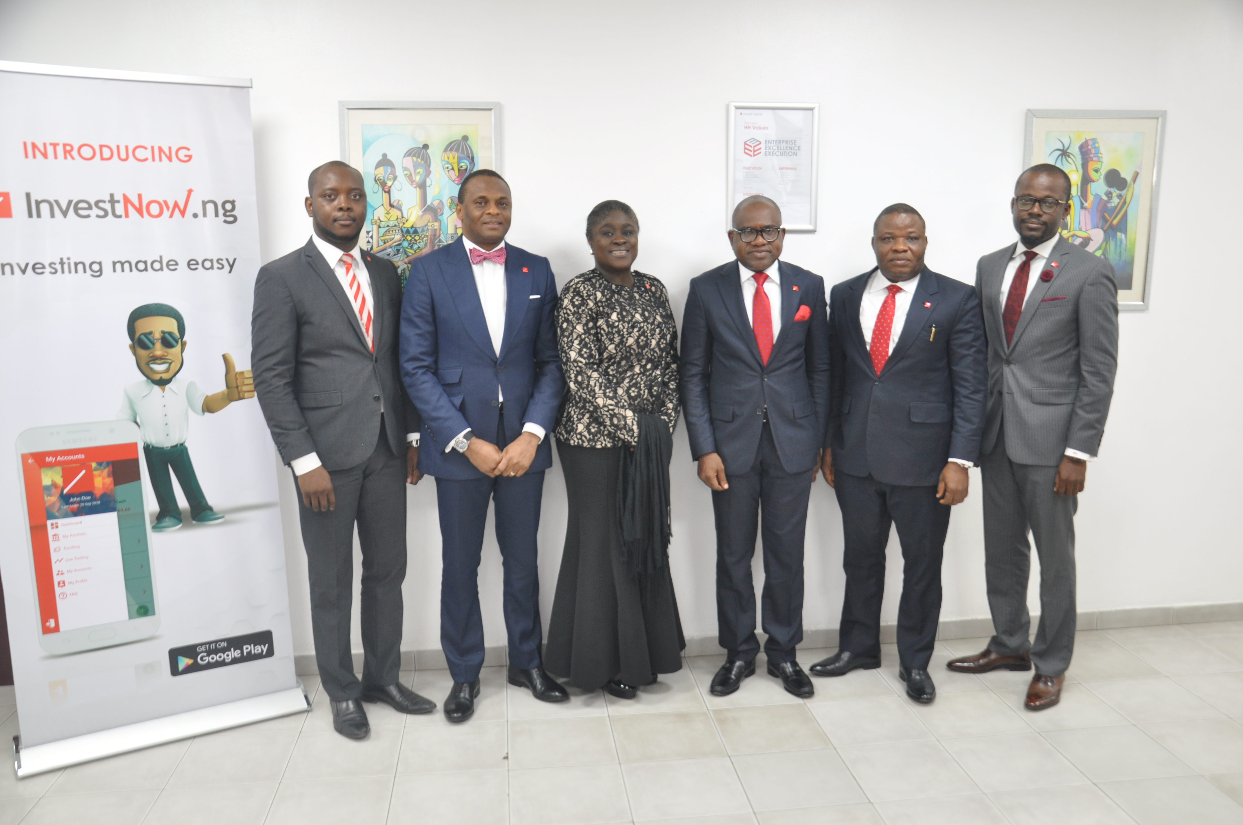 l-r: Joseph Onyema – Group Chief Information Officer; Jude Chiemeka – MD/CEO ,  United Capital Securities Limited; Tokunbo Ajayi  - MD/CEO United Capital Trustees Limited; Peter Ashade – Group CEO , United Capital Plc; Sunny Anene – MD/CEO, United Capital Asset Management and Babatunde Obaniyi – MD , United Capital Investment Banking; during the launch of United Capital investnow online platform in Lagos, yesterday.