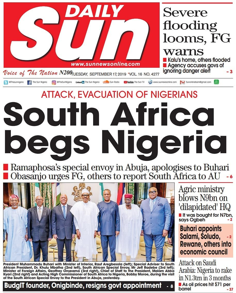 Nigerian Newspaper Headlines (17th September, 2019 ...