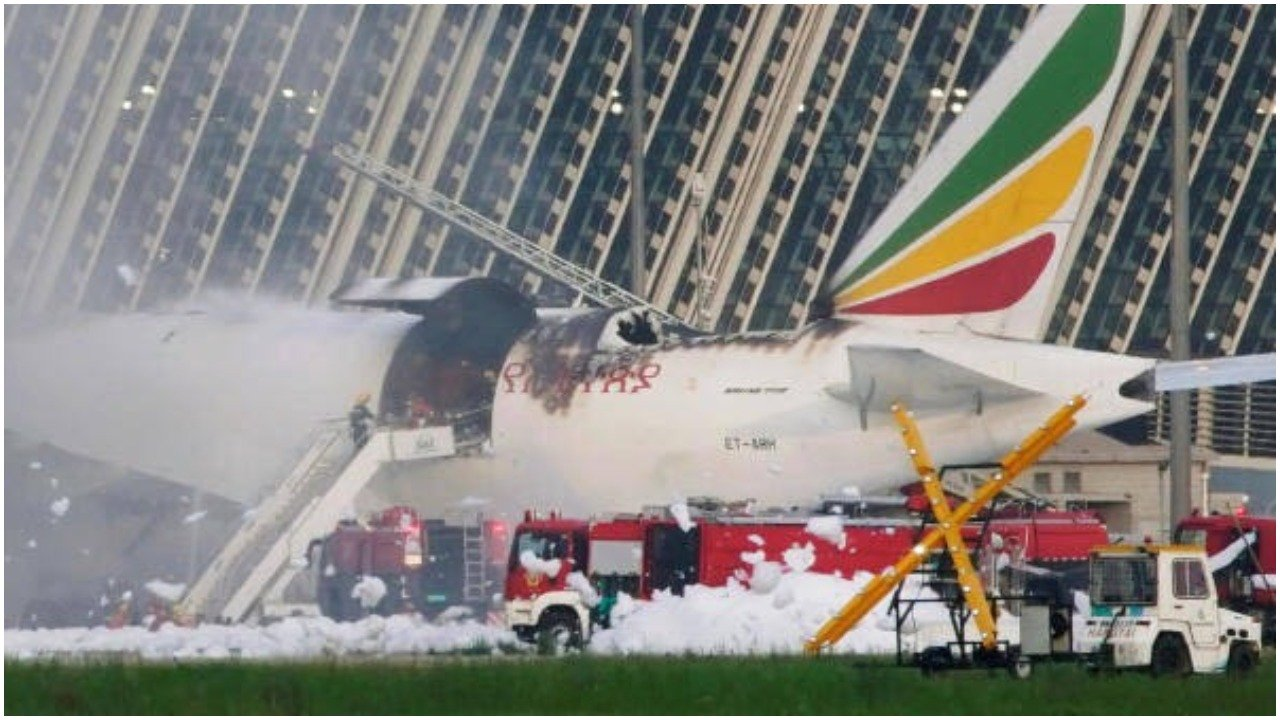 Ethiopian flight goes aflame